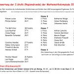Auswertung der 2. Stufe der Mathematikolympiade