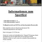 Organisations- und Vertretungsplan Sportfest am 21./22.06.